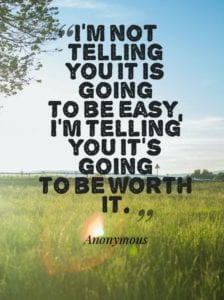 I'm not telling you it is going to be easy. I'm telling you it is going to be worth it.